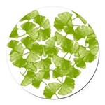 ginkgo-heart_tr.png Round Car Magnet