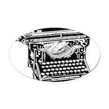 typewriter_bk.png Oval Car Magnet