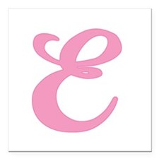 "E-pink-initial_tr.png Square Car Magnet 3"" x 3"""
