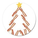 Bacon Christmas Tree Round Car Magnet