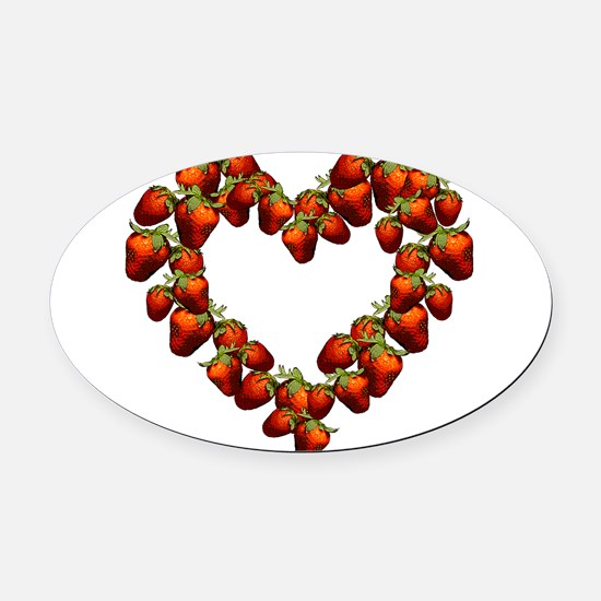strawberry-heart.png Oval Car Magnet