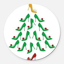 High Heel Shoe Holiday Tree Round Car Magnet