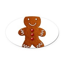 gingerbread-man_tr.png Oval Car Magnet