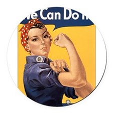 Rosie the Riveter We Can Do It Round Car Magnet