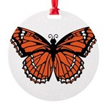 butterfly-orange.png Round Ornament
