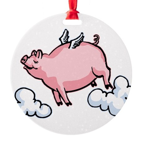 flying-pig.png Round Ornament