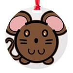 mousie-br.png Round Ornament