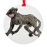 monkey-creepy.png Round Ornament