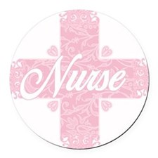 Nurse Pink Lacy Cross Round Car Magnet