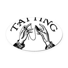 tatting_bl.png Oval Car Magnet
