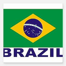 """brazil_s.gif Square Car Magnet 3"""" x 3"""""""