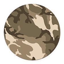 Tan Camouflage Pattern Round Car Magnet