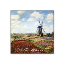 "Monet A Field of Tulips Square Sticker 3"" x 3"""