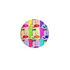 Comic Thinking Girl Mini Button (10 pack)