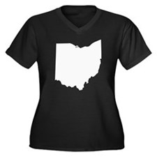 Ohio Women's Plus Size V-Neck Dark T-Shirt