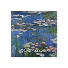 "Claude Monet Water Lilies Square Sticker 3"" x 3"""
