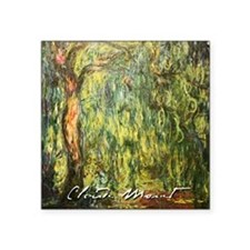 "Claude Monet weeping Willow Square Sticker 3"" x 3"""