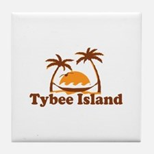Tybee Island GA - Palm Trees Design. Tile Coaster