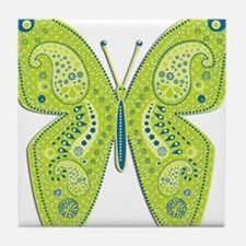 Lime and Blue Paisley Butterfly Tile Coaster
