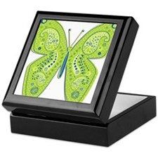 Lime and Blue Paisley Butterfly Keepsake Box