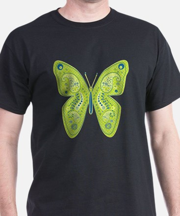 Lime and Blue Paisley Butterfly T-Shirt