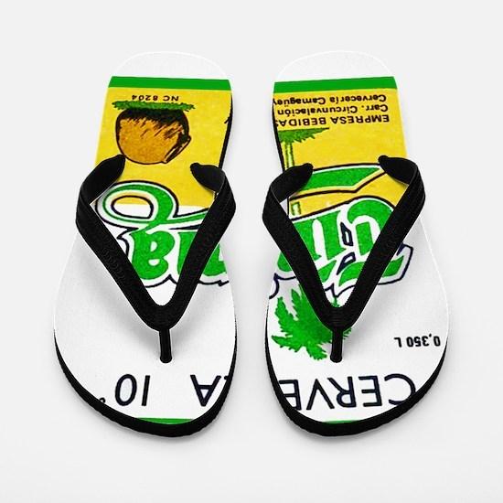 Cuba Beer Label 3 Flip Flops
