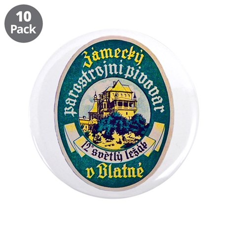 """Czech Beer Label 10 3.5"""" Button (10 pack)"""