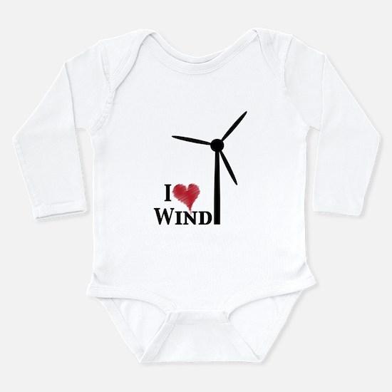 Cute I love renewable energy Long Sleeve Infant Bodysuit