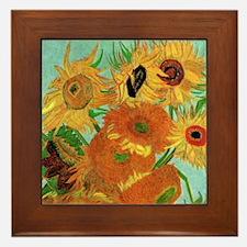 Van Gogh Twelve Sunflowers Framed Tile