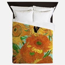 Van Gogh Twelve Sunflowers Queen Duvet