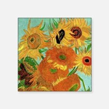 "Van Gogh Twelve Sunflowers Square Sticker 3"" x 3"""