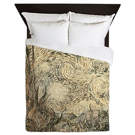 Van Gogh Starry Night Drawing Queen Duvet