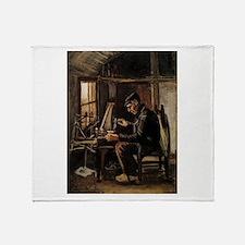 Van Gogh Man Winding Yarn Throw Blanket