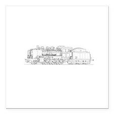 "Steam Engine Train Square Car Magnet 3"" x 3"""