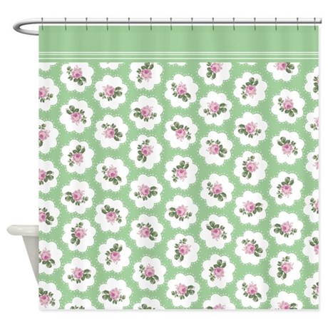 Green Pink Roses Floral Shower Curtain
