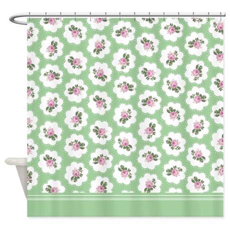green and pink roses floral shower curtain by