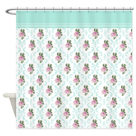 Luxurious english rose floral shower curtain by for English floral curtains