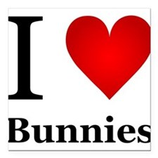 "I Love Bunnies Square Car Magnet 3"" x 3"""