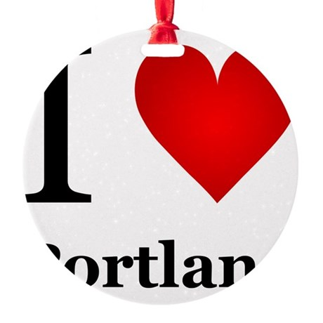 I Love Portland Round Ornament