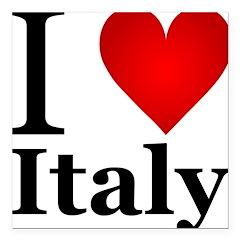 I Love Italy Square Car Magnet 3
