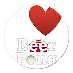 i-love-beer-pong-3-dark.png Round Car Magnet