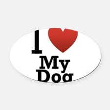 i-love-my-dog.png Oval Car Magnet