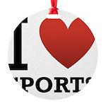 I Love Sports Round Ornament