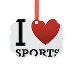 I Love Sports Picture Ornament