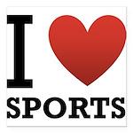 I Love Sports Square Car Magnet 3