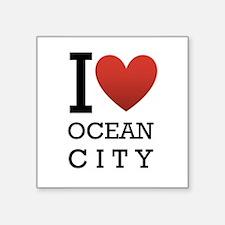 "I <3 Ocean City Square Sticker 3"" x 3&quot"