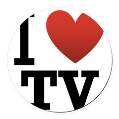 i-love-tv.png Round Car Magnet
