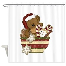 Sweet Christmas Bear Shower Curtain