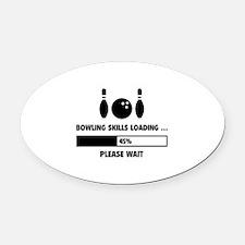 Bowling Skills Loading Oval Car Magnet