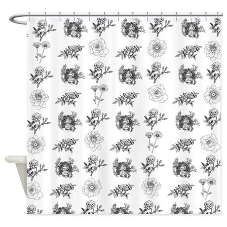 Black And White Floral Toile Shower Curtain By InspirationzStore
